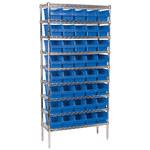 Akro-mils Shelfmax 2000 lb Ajustable Azul Cromo Acero Abierto Ajustable Sistema de estantería fijo - 40 gavetas - capacidad total 2000 lb - AWS143630090 BLUE