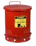 Justrite Rojo Acero 14 gal Lata de seguridad - Altura 20 1/4 in - Diámetro total 16 1/16 in - 09500