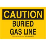 Brady B-555 Aluminio Rectángulo Cartel de línea de gas enterrada Amarillo - 10 pulg. Ancho x 7 pulg. Altura - 126864