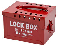 Brady Blanco sobre rojo Acero Caja de almacenamiento de seguridad combinado 51171 - Ancho 7 pulg. - Altura 6 pulg. - Capacidad de Candado 40 - 754476-51171