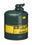 Justrite Verde Acero 5 gal Lata de seguridad - Altura 16 7/8 in - Diámetro total 11 3/4 in - 7150400