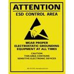 SCS ESD Papel Rectángulo Cartel de seguridad eléctrica Amarillo - 17 in Ancho x 22 in Altura