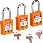Brady Naranja Nailon 6 pernos Candado de seguridad con llave 123268 - Ancho 1 1/2 pulg. - Altura 1 3/4 pulg. - Número de llaves incluidas 1 - 754473-72021
