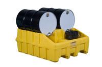 Justrite Amarillo Ecopolyblend 3060 lb 66 gal Estante apilador para tambor - Ancho 49 in - Longitud 59 in - Altura 26 in - 697841-13452