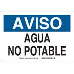 Brady B-401 Poliestireno Rectángulo Cartel de saneamiento de agua Blanco - 10 in Ancho x 7 in Altura - Idioma Español - 39117