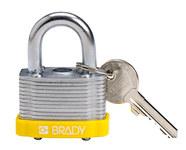 Brady Amarillo Acero 5 pernos Candado de seguridad con llave 143132 - Ancho 1 5/16 pulg. - Altura 1 1/5 pulg. - Número de llaves incluidas 1 - 754473-20804