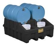 Justrite Negro Ecopolyblend 3060 lb 66 gal Estante apilador para tambor - Ancho 49 pulg. - Longitud 59 pulg. - Altura 26 pulg. - 697841-13453