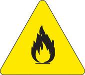 Brady 60181 Negro sobre amarillo Triángulo Vinilo Etiqueta de peligro de incendio - Altura 1/2 pulg. - B-946