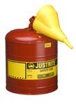 Justrite Rojo Acero 5 gal Lata de seguridad - Altura 16 7/8 in - Diámetro total 11 3/4 in - 7150110