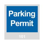 Brady 96230 Azul/Blanco sobre gris Cuadrado Vinilo Etiqueta de permiso de estacionamiento - Ancho 3 in - Altura 3 in - Imprimir números = 101 a 200