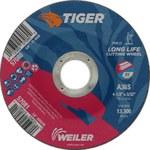 Weiler TIGER Óxido de aluminio Rueda de corte - Tipo 27 - rueda de centro hundido - 36 grano grado - Diámetro 4 1/2 pulg. - Agujero Central 7/8 pulg. - Grosor 3/32 pulg. - 57081