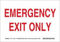 Brady B-586 Papel Rectángulo Cartel de salida de emergencia Blanco - 10 pulg. Ancho x 7 pulg. Altura - 115924