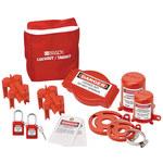 Brady Blanco sobre rojo Nailon Kit de bloqueo/etiquetado - Profundidad 3 pulg. - Altura 8 pulg. - Material de contenedor Nailon - 754476-99680