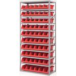 Akro-mils Rojo Gris Acero 22 ga Sistema de estantería de bandeja de sistema - 10 gavetas - AS1879318 RED