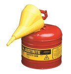 Justrite Rojo Acero 2 gal Lata de seguridad - Altura 13 3/4 in - Diámetro total 9 1/2 in - 7120110