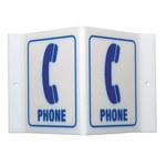 Brady Acrílico Forma en V Cartel de ubicación de teléfono Blanco - 9 in Ancho x 6 in Altura - 49389