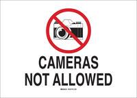 Brady B-555 Aluminio Rectángulo Cartel/anuncio de no usar cámaras Blanco - 14 in Ancho x 10 in Altura - 122358