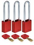 Brady SafeKey Rojo Aluminio anodizado 6 pines Candado de seguridad 150218 - Ancho 1 1/2 pulg. - Altura 1.8 pulg. - Número de llaves incluidas 1 - 754473-61033