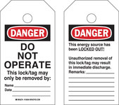 Brady RipTag 150503 Negro/Rojo sobre blanco Poliéster Etiqueta de bloqueo/etiquetado - Ancho 3 pulg. - Altura 5 3/4 pulg. - B-851