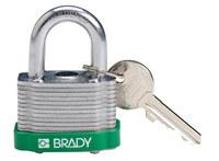 Brady Verde Acero 5 pernos Candado de seguridad con llave 143128 - Ancho 1 5/16 in - Altura 1 1/5 in - Número de llaves incluidas 1 - 754473-20800