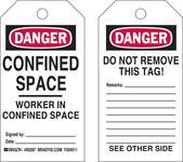 Brady 50287 Negro/Rojo sobre blanco Poliéster/papel Etiqueta para espacio restringido - Ancho 3 pulg. - Altura 5 3/4 pulg. - B-837