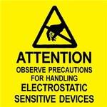 Desco Negro sobre amarillo Cuadrado Etiqueta de advertencia estática - Altura 2 in - DESCO 06727