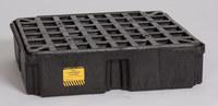Eagle Negro Polietileno de alta densidad 2000 lb 15 gal Tarima para derrames - Apoya 1 Barriles - Ancho 26 1/4 pulg. - Longitud 26 pulg. - Altura 6 1/2 pulg. - 048441-00492