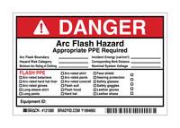 Brady 121080 Negro/Rojo sobre blanco Rectángulo Vinilo Etiqueta de arco eléctrico - Altura 4 in - B-7569