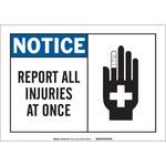 Brady B-555 Aluminio Rectángulo Cartel de aviso de accidente Blanco - 7 pulg. Ancho x 10 pulg. Altura - 46474