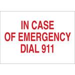Brady B-401 Poliestireno Rectángulo Cartel de emergencia 911 Blanco - 10 pulg. Ancho x 7 pulg. Altura - 22678