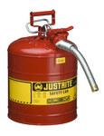 Justrite Accuflow Rojo Acero 5 gal Lata de seguridad - Altura 17 1/2 in - Diámetro total 11 3/4 in - 7250130