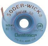 Chemtronics Soder-Wick #3 Verde Trenza de desoldadura de revestimiento de fundente de colofonia - Longitud 5 ft - Diámetro 0.08 in -