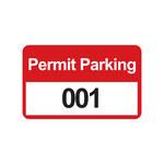 Brady 95208 Negro/Rojo sobre blanco Rectángulo Vinilo Etiqueta de permiso de estacionamiento - Ancho 4 3/4 in - Altura 2 3/4 in - Imprimir números = 001 a 100