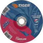 Weiler TIGER Óxido de aluminio Disco de corte y esmerilado - Diámetro 7 in - Agujero Central 7/8 in - Grosor 1/8 in - 57105