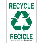 Brady B-555 Aluminio Rectángulo Letrero de reciclaje Blanco - 7 pulg. Ancho x 10 pulg. Altura - Idioma Inglés/Español - 125523