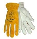Tillman 1414 Perla/amarillo Grande Cuero Grano Cuero vacuno Cuero Guante para conductor - Pulgar montado - Longitud 9 pulg. - TILLMAN 1414L