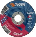 Weiler TIGER Óxido de aluminio Disco de corte y esmerilado - Diámetro 4 1/2 in - Agujero Central 7/8 in - Grosor 1/8 in - 57101