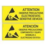 Desco PVC de alto impacto Rectángulo Cartel de seguridad eléctrica Amarillo - 10 in Ancho x 4 in Altura - Idioma Inglés/Español