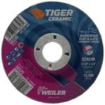 Weiler Tiger Ceramic Cerámico Disco esmerilador - Tipo 27 - rueda de centro hundido - Diámetro 4 1/2 pulg. - Agujero Central 7/8 pulg. - Grosor 1/4 pulg. - 58325