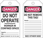 Brady 50291 Negro/Rojo sobre blanco Poliéster/papel Etiqueta para espacio restringido - Ancho 3 pulg. - Altura 5 3/4 pulg. - B-837