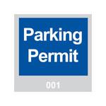Brady 95199 Azul/Blanco sobre gris Cuadrado Vinilo Etiqueta de permiso de estacionamiento - Ancho 3 pulg. - Altura 3 pulg. - Imprimir números = 001 a 100