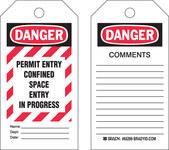 Brady 65299 Negro/Rojo sobre blanco Poliéster/papel Etiqueta para espacio restringido - Ancho 3 pulg. - Altura 5 3/4 pulg. - B-837