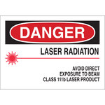 Brady B-302 Poliéster Rectángulo Cartel/Etiqueta de peligro de láser Blanco - 10 pulg. Ancho x 7 pulg. Altura - Laminado - 88707
