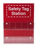 Brady Rojo/blanco Estación de etiquetas OSHA - 10 Bolsillos - Ancho 16 1/2 in - Altura 22 in - 754476-81773