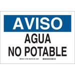 Brady B-302 Rectángulo Cartel de saneamiento de agua Blanco - 10 in Ancho x 7 in Altura - Idioma Español - 37799