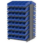 Akro-mils 1800 lb Azul Gris Acero 16 ga Doble cara Bastidor fijo - longitud total 36 3/4 in - 80 gavetas - Gavetas incluidas - APRD18098 BLUE