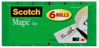 3M Scotch 810K6 Magic Cinta de oficina Transparente - 3/4 in Ancho x 1000 in Longitud - 59481
