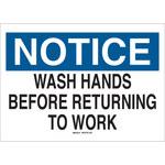 Brady B-302 Poliéster Rectángulo Letrero de higiene personal Blanco - 10 pulg. Ancho x 7 pulg. Altura - Laminado - 88475