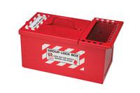 Brady Blanco sobre rojo Acero Caja de almacenamiento de seguridad combinado 105716 - Ancho 2.67 pulg. - Altura 6.34 pulg. - Capacidad de Candado 50 - 754476-03773