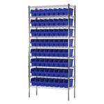 Akro-mils Shelfmax 2000 lb Ajustable Azul Cromo Acero Abierto Ajustable Sistema de estantería fijo - 64 gavetas - capacidad total 2000 lb - AWS143630040 BLUE